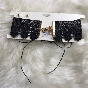 hot miami styles Jewelry - Black chocker with gold stud earrings